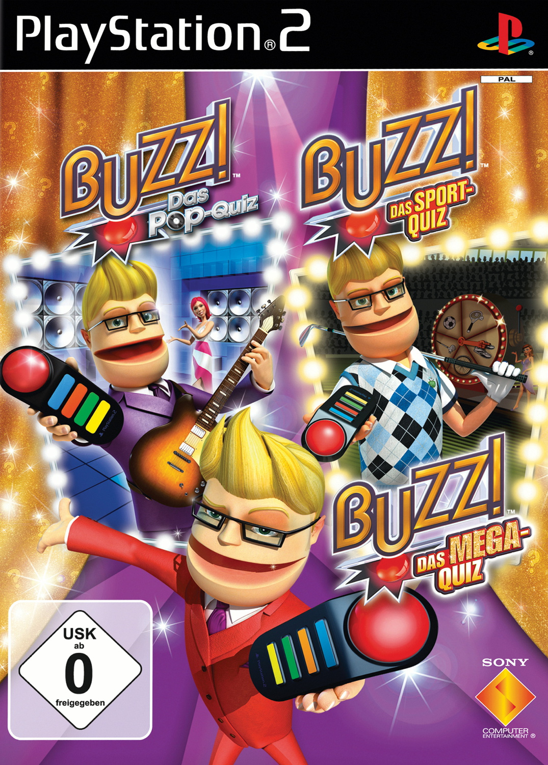 Buzz! Quiz Bundle + 4 Buzzer Pop Quiz, Sports Q...