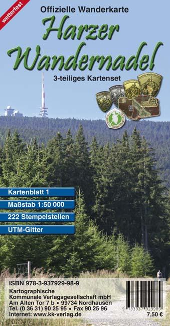 Harzer Wandernadel. 3 teiliges wetterfestes Kar...