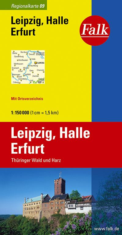 Falk Regionalkarte Leipzig - Halle - Erfurt 1:1...