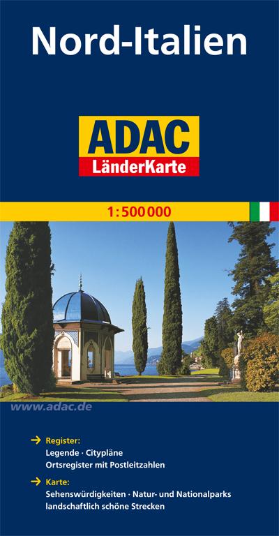 ADAC LänderKarte Norditalien 1 500 000 Vom Brenner bis Rom. Mit komplettem Ortsregister. Mit Cityplänen von Florenz, G - artaus