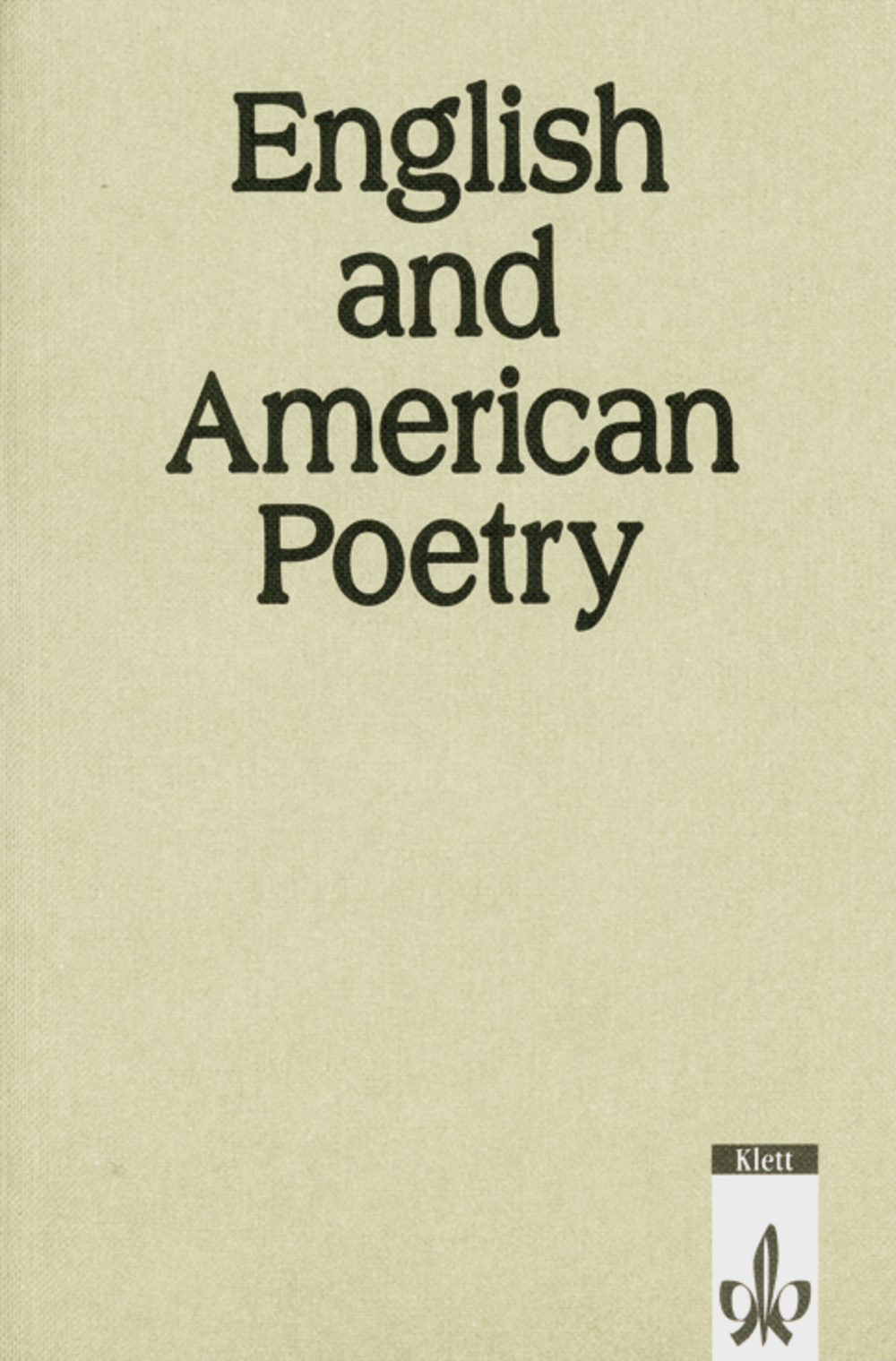 English and American Poetry, Book