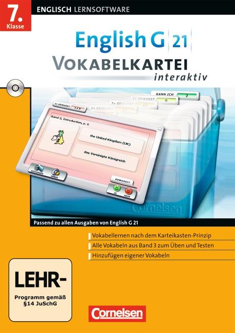English G 21 - Lernsoftware - Vokabelkarteien interaktiv - zu allen Ausgaben: English G 21 Band 3. 7. Klasse Vokabelkart