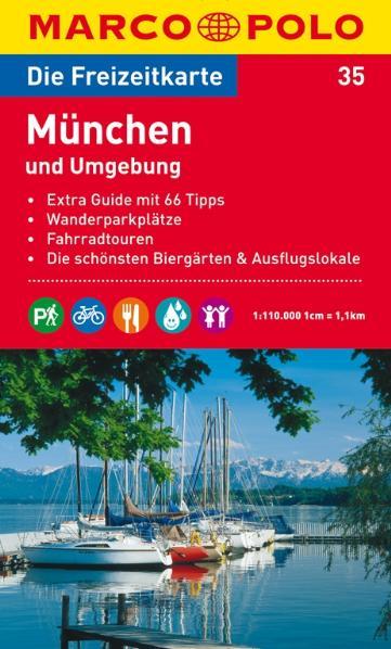 MARCO POLO Freizeitkarte 35 München und Umgebung 1 : 110 000: Extra Guide mit 66 Tipps. Wanderparkplätze. Fahrradtouren. Die schönsten Biergärten und Ausflugslokale