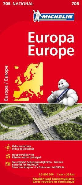 Michelin Nationalkarte: Nr. 705 - Europa / Europe - Ortsverzeichnis, Stadtpläne, Malerische Straßen und Aussichtspunkte - 1:3.000.000 [Landkarte, 12. Auflage 2012]