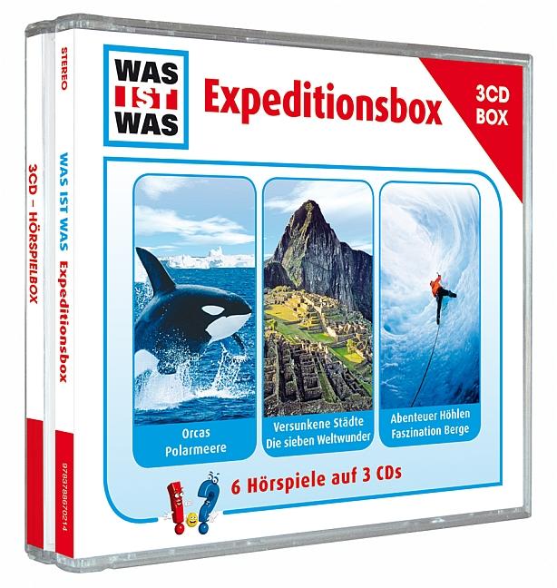 Was ist Was Expeditionsbox: Orcas, Polarmeere / Versunkene Städte, Sieben Weltwunder / Abenteuer Höhlen, Faszination Ber