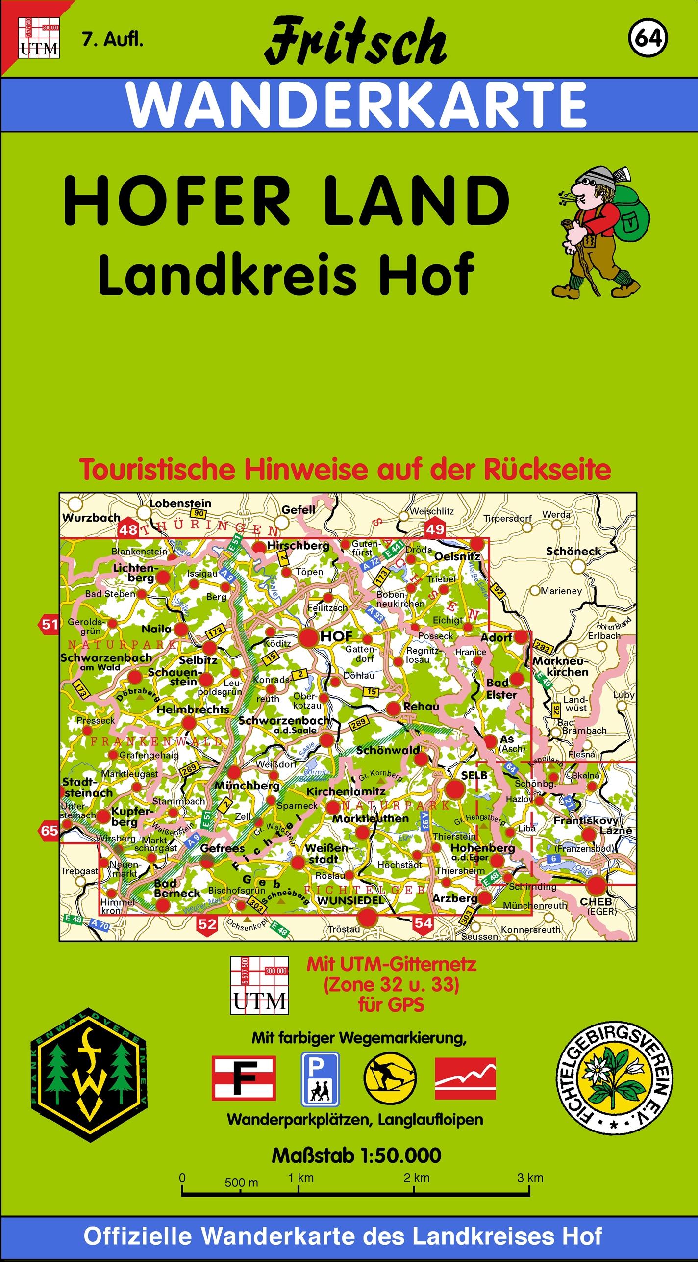 Fritsch Karten, Nr.64, Landkreis Hof: Touristische Hinweise auf der Rückseite. Mit farbiger Wegemarkierung, Wanderparkplätzen, Langlaufloipen und ... Nit UTM-Gitternetz (Zone 32 u. 33 für GPS)