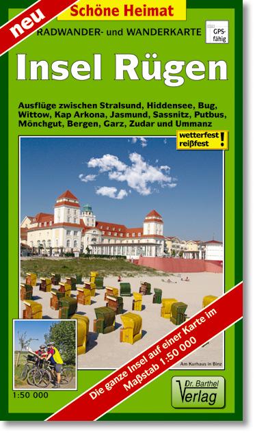 Insel Rügen Radwander- und Wanderkarte 1 : 50 000: Ausflüge zwischen Stralsund, Garz, Hiddensee, Bug, Kap Arkona, Jasmun