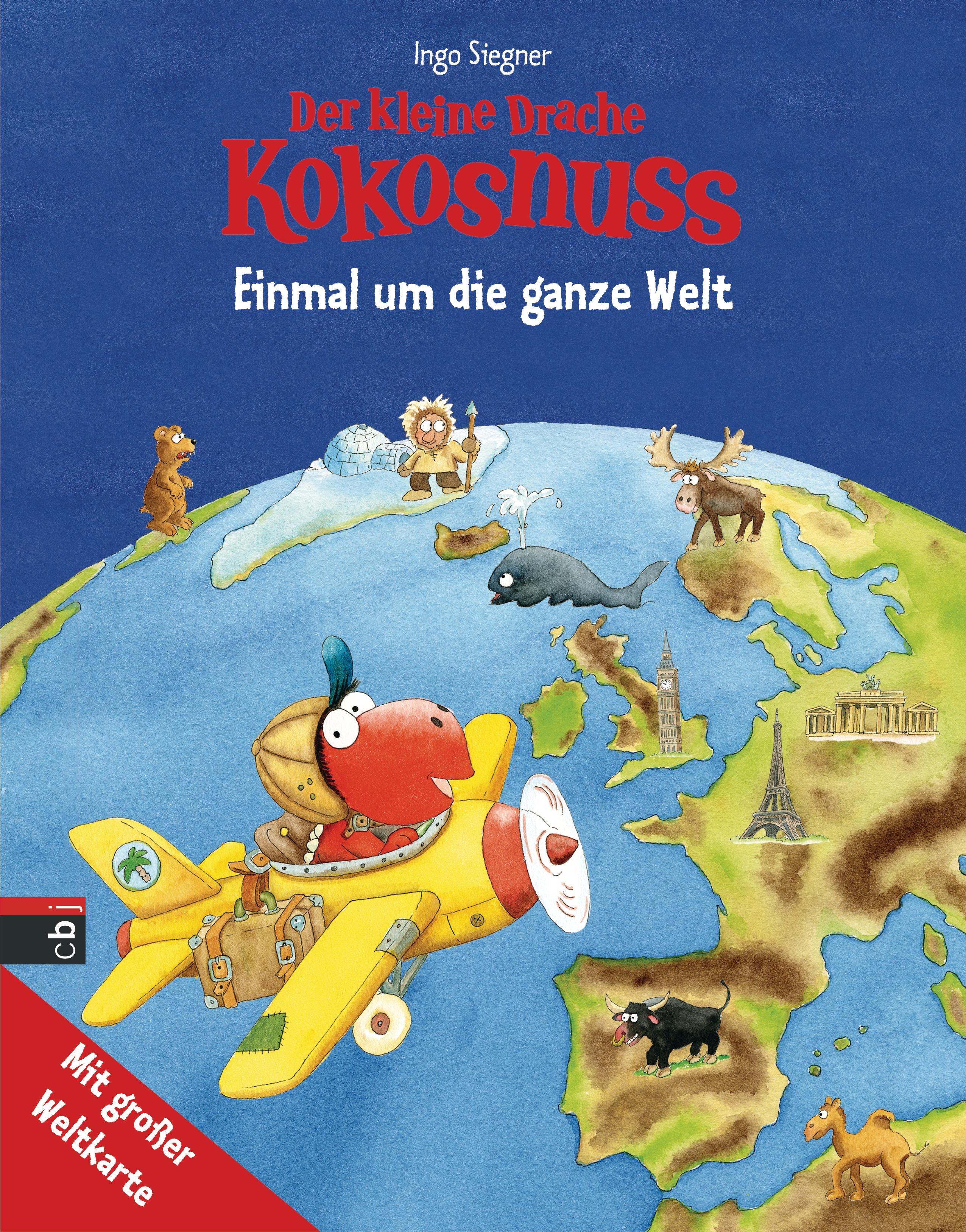 Der kleine Drache Kokosnuss - Einmal um die ganze Welt: Kinderatlas mit großer Weltkarte - Ingo Siegner