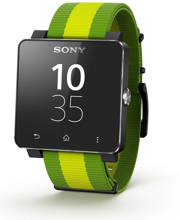 Sony SmartWatch 2 40,6 mm schwarz am Stoffarmband grün [Brazil Edition]