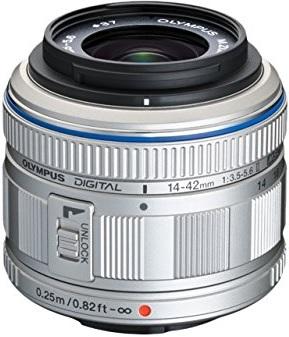 Olympus M.Zuiko Digital 14-42 mm 1:3.5-5.6 II R 37 mm Filtergewinde (Micro Four Thirds Anschluss) silber