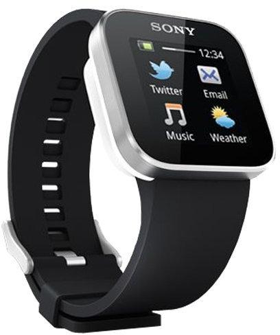 Sony SmartWatch 33 mm silber am Kautschukarmband schwarz
