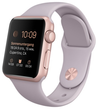 Image of Apple Watch Sport 38 mm roségoud met sportbandje lavendel [wifi]