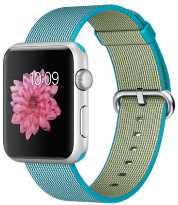Image of Apple Watch Sport 42 mm zilver met bandje van geweven nylon azuurblauw [wifi]