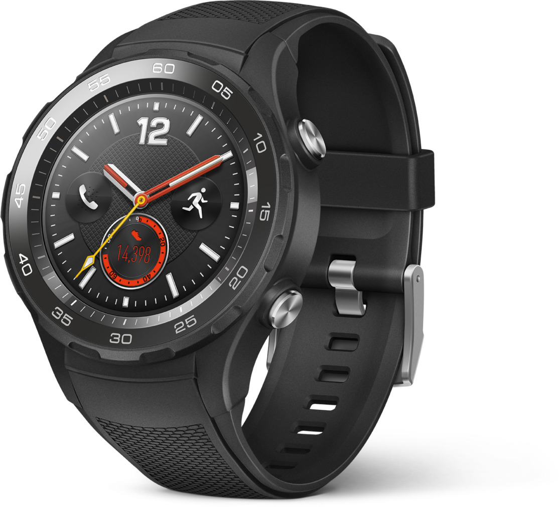 Huawei Watch 2 45 mm schwarz am Sportarmband carbon black [Wi-Fi + 4G]