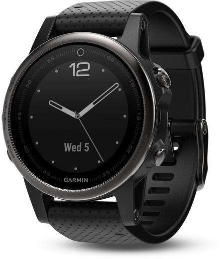 Garmin Fenix 5S 42 mm schwarz am Silikonarmband schwarz [Wi-Fi, Saphir Edition]