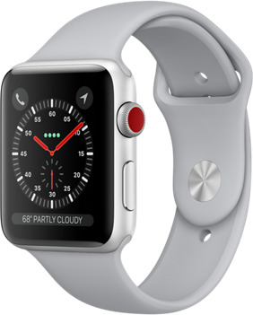 Apple Watch Series 3 42 mm Aluminiumgehäuse silber am Sportarmband nebel [Wi-Fi + Cellular]