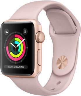 Apple Watch Series 3 38 mm Aluminiumgehäuse gold am Sportarmband sandrosa [Wi-Fi]