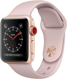 Apple Watch Series 3 38 mm Aluminiumgehäuse gold am Sportarmband sandrosa [Wi-Fi + Cellular]