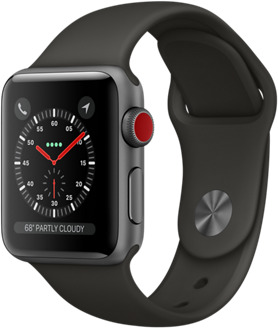 Apple Watch Series 3 38 mm Aluminiumgehäuse space grau am Sportarmband grau [Wi-Fi + Cellular]