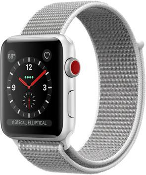 Apple Watch Series 3 42 mm Aluminiumgehäuse silber am Sport Loop muschel [Wi-Fi + Cellular]