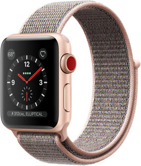 Apple Watch Series 3 38 mm Aluminiumgehäuse gold am Sport Loop sandrosa [Wi-Fi + Cellular]