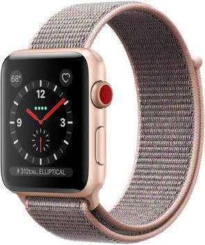 Apple Watch Series 3 42 mm Aluminiumgehäuse gold am Sport Loop sandrosa [Wi-Fi + Cellular]