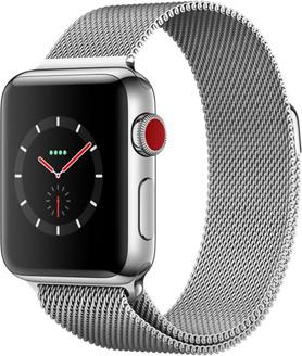 Apple Watch Series 3 38 mm Edelstahlgehäuse silber am Milanaise Armband silber [Wi-Fi + Cellular]