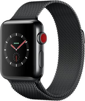 Apple Watch Series 3 38 mm Edelstahlgehäuse space schwarz am Milanaise Armband space schwarz [Wi-Fi + Cellular]