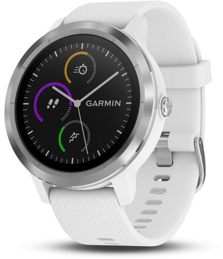 Garmin Vivoactive 3 30,4 mm silber am Silikonarmband weiß