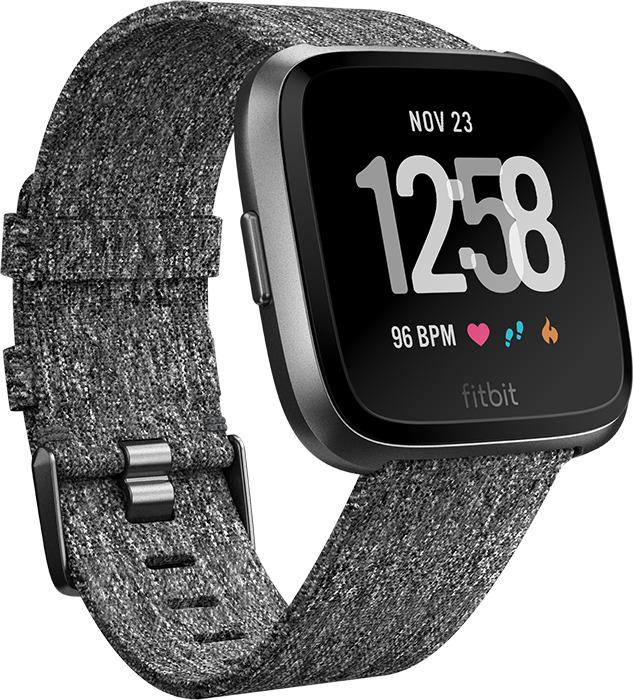 Fitbit Versa 34 mm aluminium graphitgrau am gewobenen Stoffarmband dunkelgrau [Wi-Fi, Special Edition]