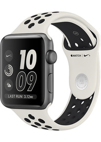 Apple Watch Nike+ Series 2 38 mm en aluminium gris au bracelet de sport Nike light bone noir [Wifi, Limited NikeLab Edition]