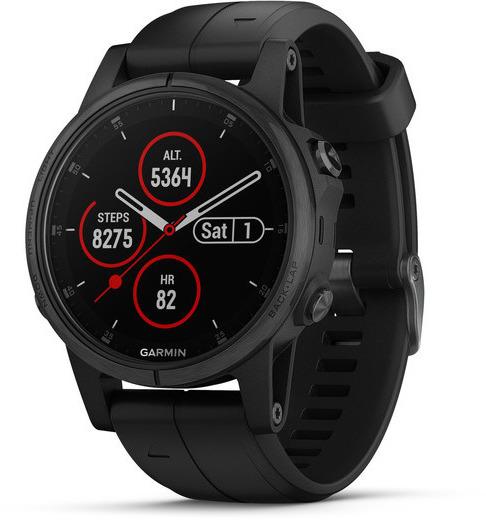 Garmin Fenix 5S Plus 42 mm schwarz am Silikonarmband schwarz [Wi-Fi, Saphir Edition]