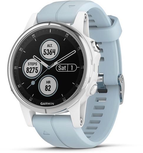 Garmin Fenix 5S Plus 42 mm weiß am Seafoam Armband hellblau [Wi-Fi, Saphir Edition]