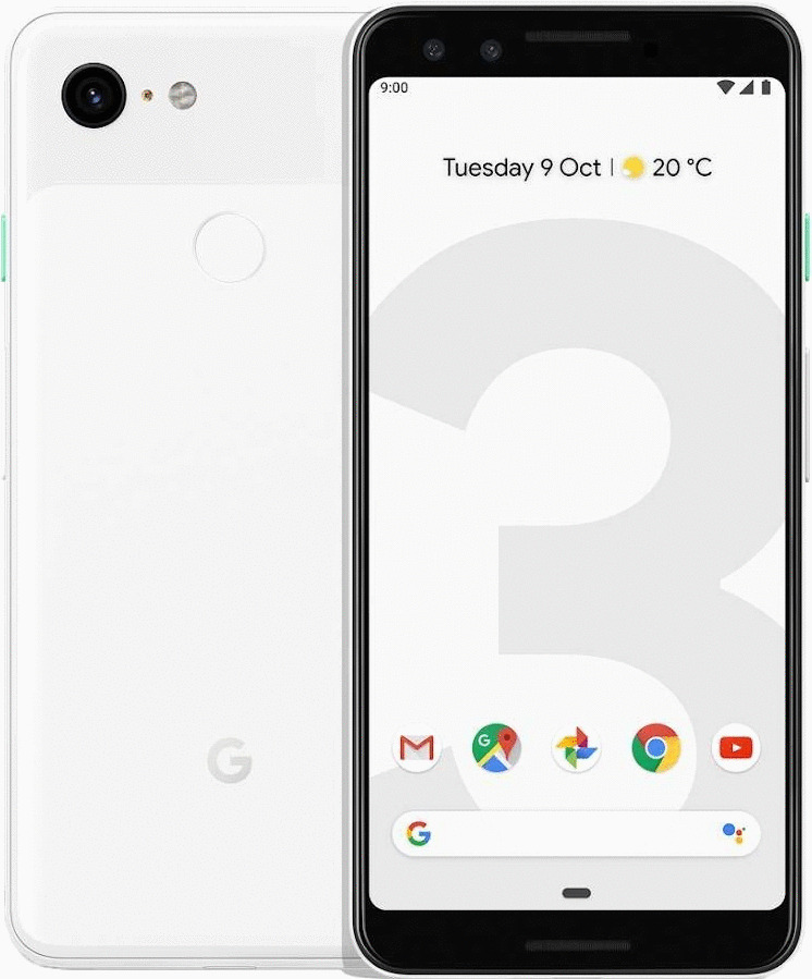 Google Pixel 3a 64GB Clearly White mit green LTE 2 4 GB